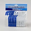 Clothespin Hanger 10pk 5in Blue/white Plastic Cleaning Pbh