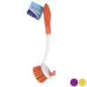 Dish Brush Round 10.5in W/mini Scraper Brush 3ast Clean Hangtag Orange/purple/yellow