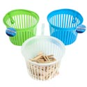 Clothespin Basket W/hanging Hook 3ast Clear/blue/green 7x4.72in Cleaning Ht