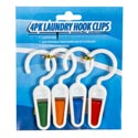 Laundry Hook W/clip 4pk Plastic 10.5g/pc 3.93in Cleaning Tcd