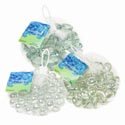 Craft Gems Glass Clear 14oz 3 Asst Square/flat/ball In Mesh Bag W/hang Tag