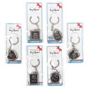 Keychain Metal Photo Frame W/ring 6ast Shapes/12pc Mdsgstrp Opp Bag W/insert Card