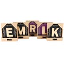 Wall Plaque Monogram W/hooks Mdf 12 Letters Ea In 2 Colors Open Box Purp/blk 6.75 X .25 X 7.75