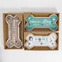Wall Plaque Mdf Pet 3ast Bone Shaped W/3 Hooks 13.38 X 6.69in Spoiled/love/home Window Box