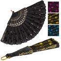 Hand Fan Folding Fabric 9in W/ Sequins 5asst Colors Ea/hdr Crd Gold/pink/blue/black/purple