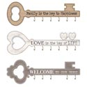 Home Wall Decor Key Shaped 3ast Mdf Love/family/welcome W/6hooks 17.7x6in Window Box/upc/compl