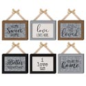 Home Decor Fabric/tin Wall Hang W/bow Burlap Rope 6ast Mdf/tin Hang Tag/comply Sticker