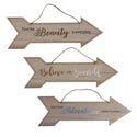 Home Decor Wall Arrow 3ast Mdf 15.5x5in W/burlap Rope/glitter & Holograph Print/upc & Comply