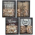 Cork Saver Shadow Box 4ast Wine Prints 11 X 2 X 14 Inches Upc Label/mdf Comply Glass Front