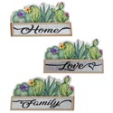 Home Decor Tabletop 8.5x5inh 3ast Succulent Love/home/family W/tin Accent Mdf Comply/upc Labl