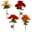 Floral Bouquet Harvest 4-stem W/mesh Detail 4ast Colors Ht