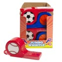 Jumbo Whistle Plastic 2ast W/ Sport Decal/24pc Pdq Soccer Or Basketball