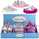 Tiara Crown 3ast W/feather Trim White/hot Pink/pastel Pink 48pdq Hangtag