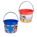 Pirate Bucket Plastic W/handle 2ast Red Or Blue Upc Label 4.5in H X 6in Round