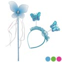 Headband & Wand Set Butterfly Blue/pink/green/ Peggable Pb With Printed Label