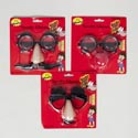 Eyeglasses Novelty 3ast Face W/ Mustache/eyebrows Or Clown Nose Blister Card