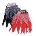 Ninja Skirt Black Or Red W/lace Trim 8x14in Polyester/header 16 Black/8 Red