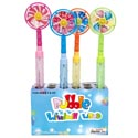 Bubble Wand W/windmill Top 4ast Colors 11.75in 24pc Pdq/upclabel