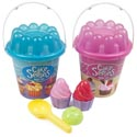 Beach Play Pail Set Cupcake 7pcs 2asst/w/tools & Molds/ht