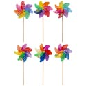 Pinwheel Large 6ast Springtime Prints 28in/71cmh Dia-12in/31cm W/wood Dowel Stick/garden Ht