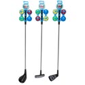 Golf Playset 27in 3ast W/4 Balls Driver/putter/iron Metal/plastic Sticker/peggable Plst Header