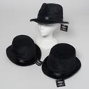 Hat Black Flocked 3ast Gangster/ Clown/tophat W/satin Ribbon Ht