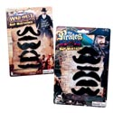 Mustaches 6pc Multi Style Pack 2asst Pirate/cowboy Selfstix Blc