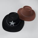 Hat Cowboy & Sheriff 2ast Black Or Brown Flocked Pvc/ea Ht