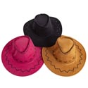 Cowboy Hat Adult Size 3ast Clrs Faux Leather Look/stitch Detail Black/camel/pink Hangtag