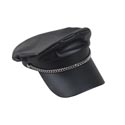 Biker Cap Black Pleather W/slvr Chain Trim *8.99* Jhook/ht