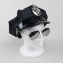Police Hat W/badge Polyester W/ Faux Leather Rim Hangtag/jhook Hangtag W/jhook