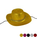 Cowboy Hat Glitter Plastic 5ast Clrs/upc Label/adult Size 8pc Blk/4 Ea Red/pink/slvr/gold