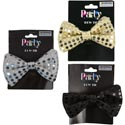 Bow Tie Sequined 4.75in 3ast Clr Black/silver/gold Backer Card Black Party Art