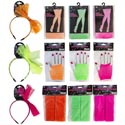 Costume Party Neon 80s/12asst Bow Headbnd/sweatband/fishnet Gloves And Hose Ea In 3colors