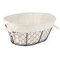 Wire Basket W/cotton Liner Oval 14x10x5.75in Sleeve Card