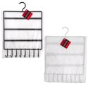 Jewelry Holder Metal 2ast Color Holds 33 Earrings/8 Ncklce Hooks Pwdr Coated Blk/white Ht/pb