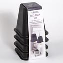 Bed Risers 4pk Black Plastic Color Label