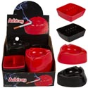 Ashtrays 2ast Shape 36pc Pdq 2ast Blk/red Plstc Ea/upc Lab