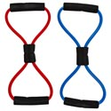 Resistance Exercise Band Short Upper Body Med Resist W/grips 2ast Colors Tpr/backer Card