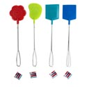 Fly Swatter 2pk Metal Handle 3 Shapes 4ast Summrclrs 21inl Foot/daisy/rect Summer Hangtag