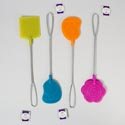 Fly Swatter 2pk Metal Handle 3shapes 4asst Summer Colors Foot/daisy/rect Summer Hangtag