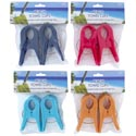 Beach Towel Clips 2pk 4ast Clrs In Reusable Vinyl Bag Prtd Hdr Blue/red/yellow/turquoise