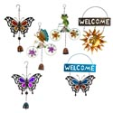 Garden Wind Chimes Hanging 6ast Iron/glass Springtime Favorites Asst Sizes 9in-10.5in