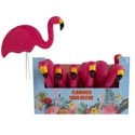 Flamingo Yard Decor Pink W/2 Metal Stakes 12.5inl Case Disp Barbell Label