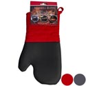 Bbq Grill Mitt Neoprene/cotton/ Polyester 2ast Colors Bbq Header Red/grey 12.5in