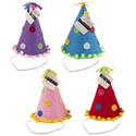 Birthday Party Cone Felt Hat Purple/pink/blue/red Party Ht 7.5in H/19.05cm