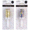 Confetti Push Popper 2ast Gold/mixed Color Party Blister