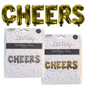 Balloon Foil Cheers Gold/silver 4ft X 12in W/straw & 16ft String Party Pb Insert