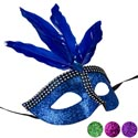 Mask Carnivale W/feather 4ast Colors Party Pbh