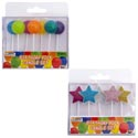 Birthday Candle Glitter 2ast 5pc Star/7pc Globe Shape W/stick Party Pvc Box